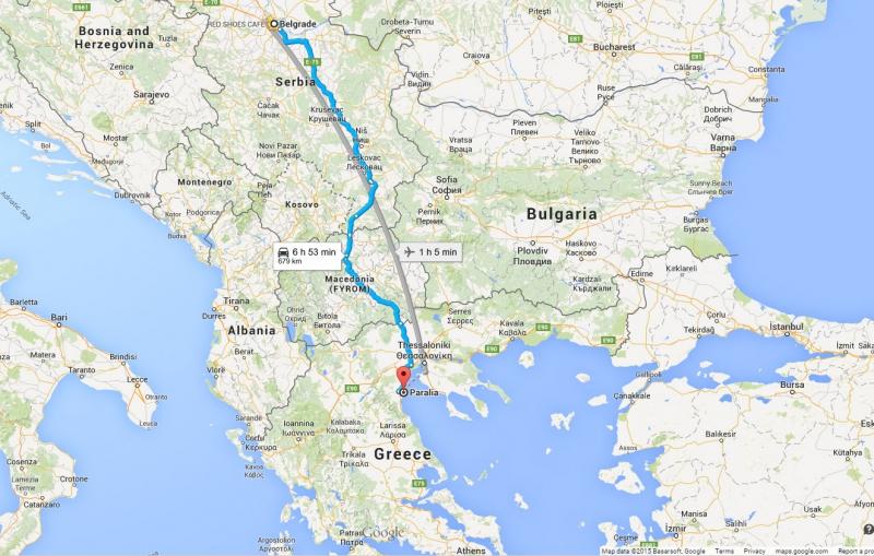 Mapa od Beograda do Grcke